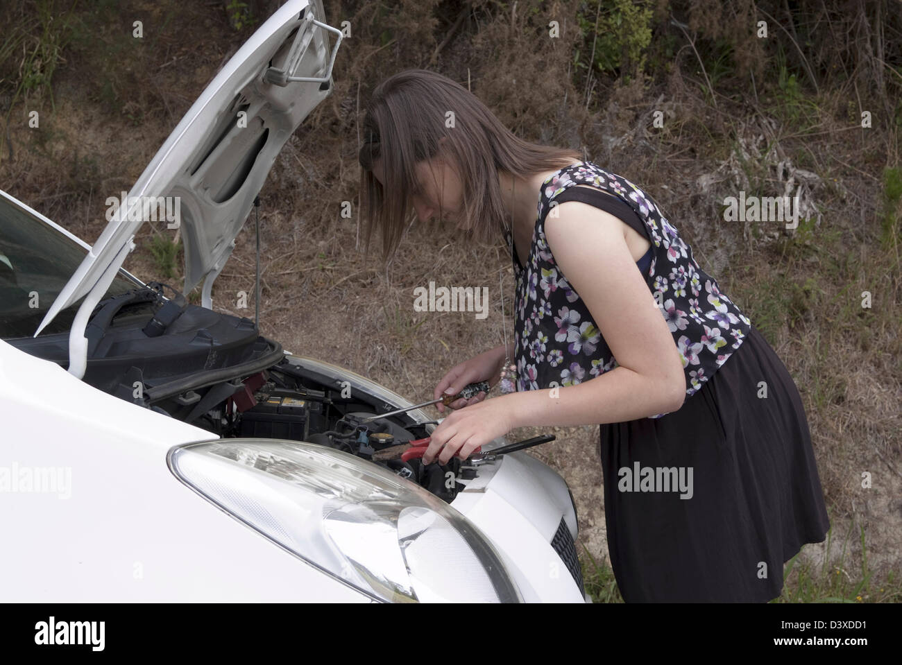 A young adult woman uses a screwdriver to fix her broken down car. - Stock Image