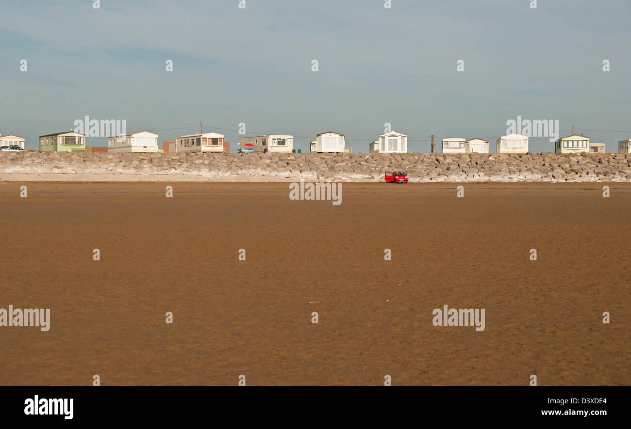 Stationary caravan park next to beach, Brean Down, Somerset, England, United Kingdom, Europe - Stock Image