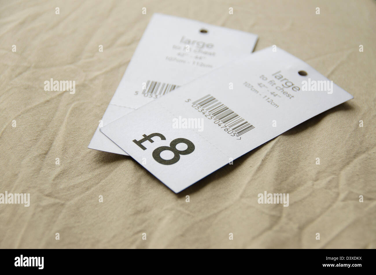 e43ce6ee6ec4 Pound price tags for upper body clothes, England, United Kingdom ...