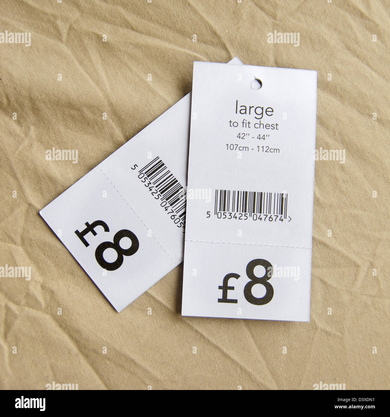Pound price tags for upper body clothes, England, United