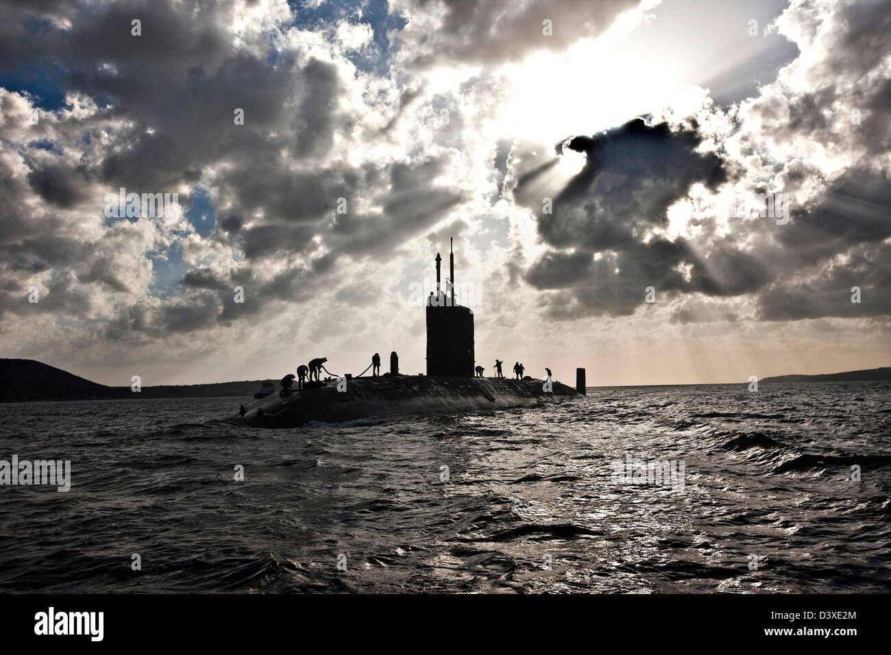 Nuclear Submarine HMS Talent and crew, backlit in Egypt - Stock Image