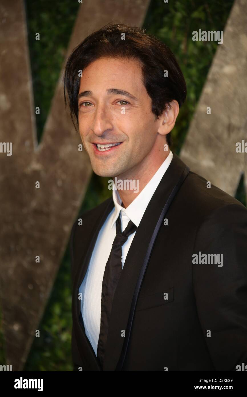 Los Angeles, USA. 24th February 2013. NewsActor Adrien Brody arrives at the Vanity Fair Oscar Party at Sunset Tower - Stock Image