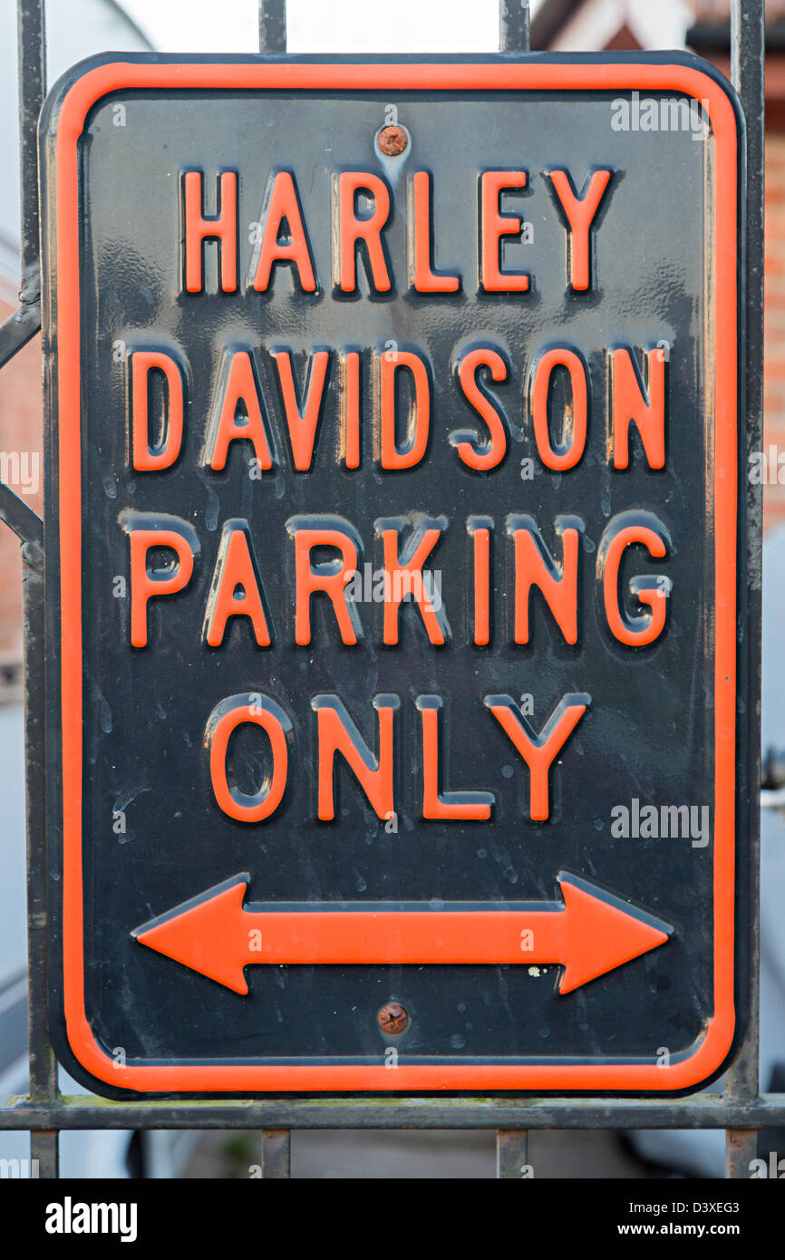 Harley Davidson parking only sign on residential road, Trefecca, Wales, UK - Stock Image