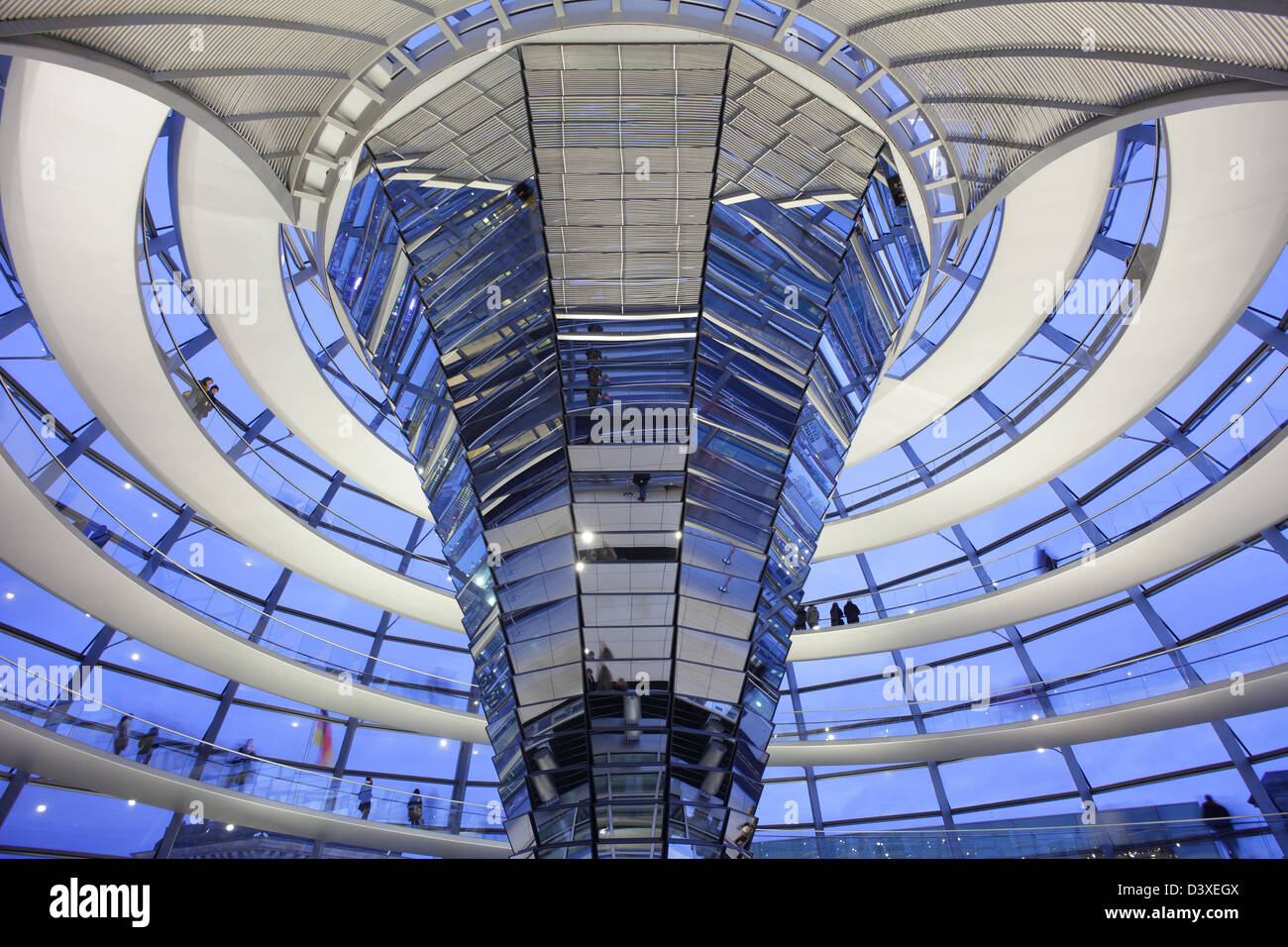 Berlin, Germany, illuminated Spiegelsaeule in the Reichstag dome Stock Photo