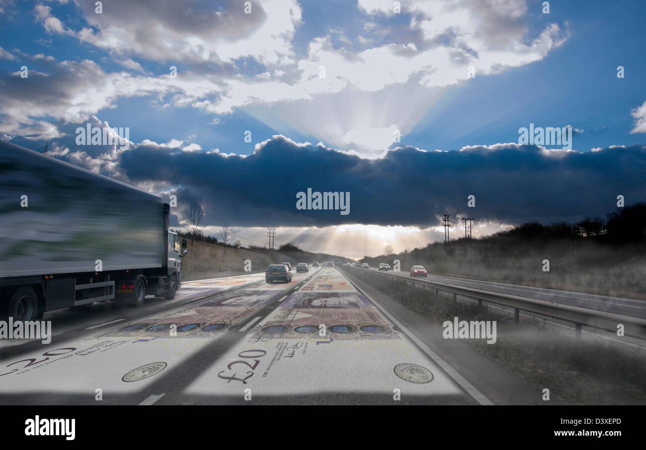 money superimposed on road tolls road pricing vehicle tax car cars toll Stock Photo