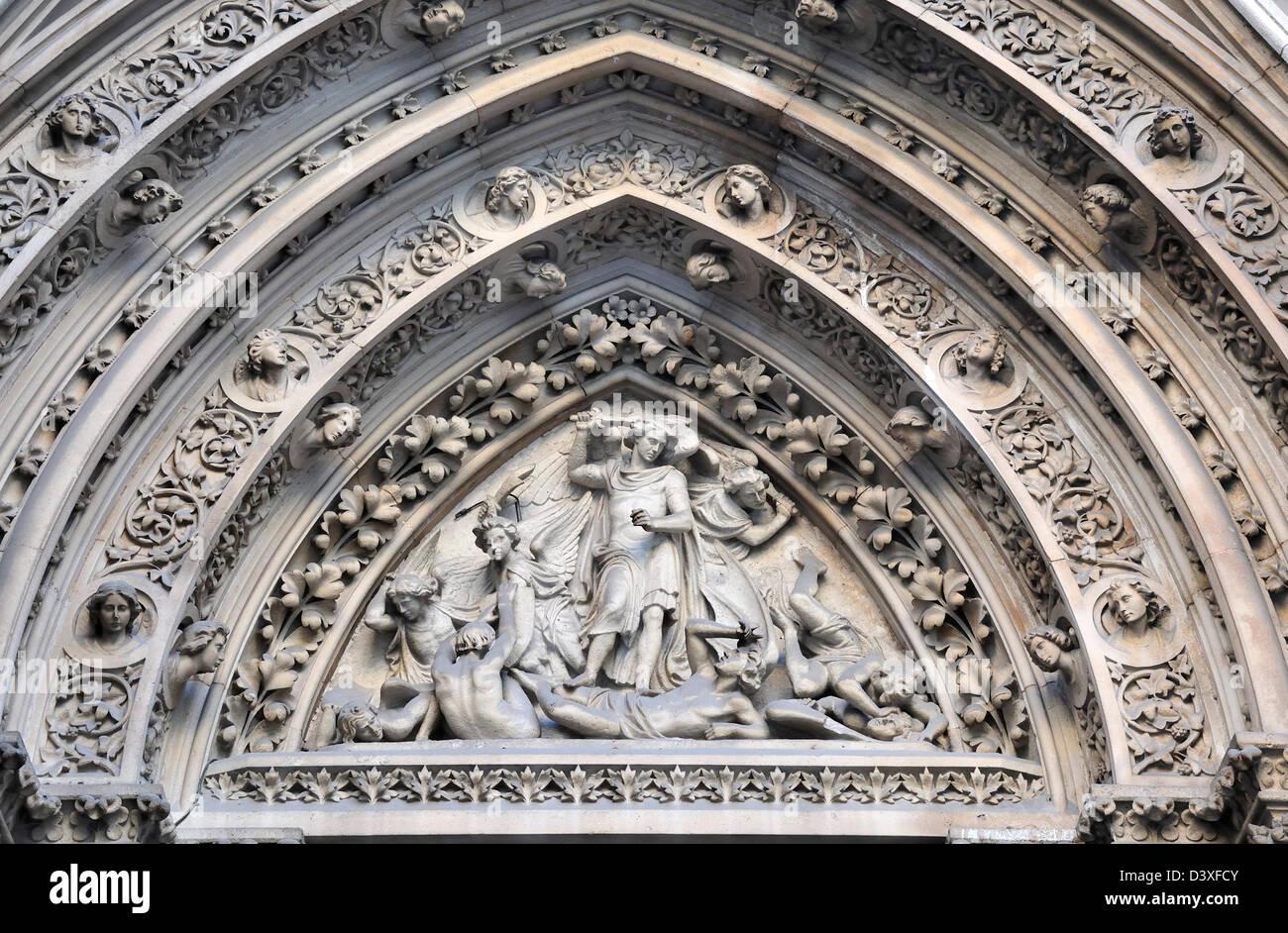 London, England, UK. Parish Church of St Michael Cornhill (1699-72) 'St Michael disputing with Satan about the - Stock Image