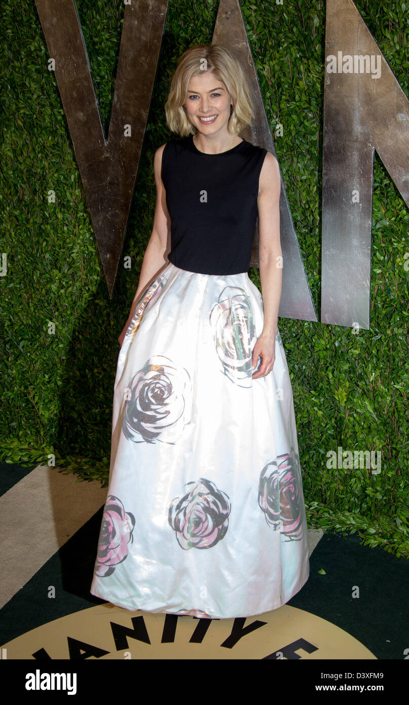 Actress Rosamund Pike arrives at the Vanity Fair Oscar Party at Sunset Tower in West Hollywood, Los Angeles, USA, - Stock Image