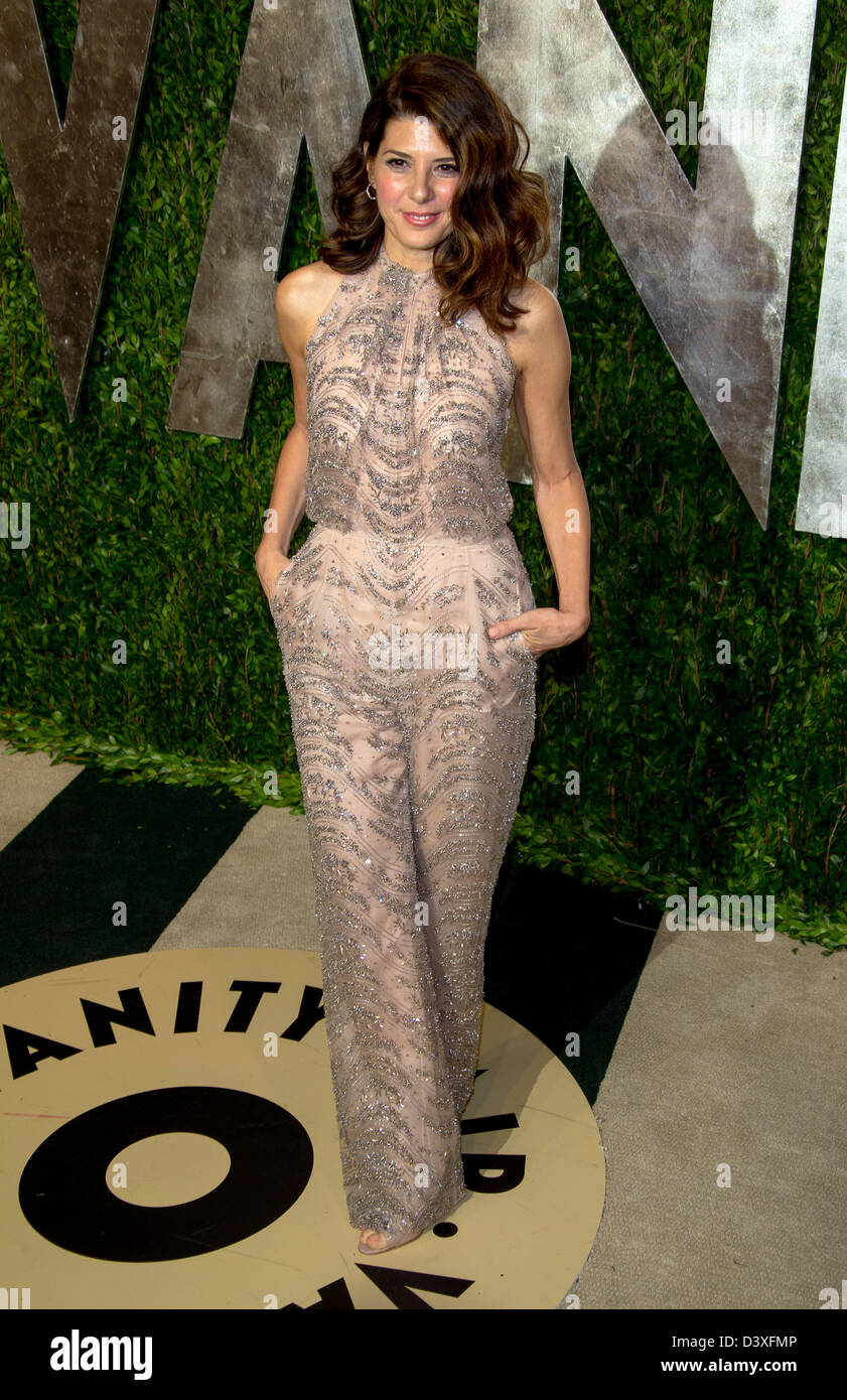 Actress Marisa Tomei arrives at the Vanity Fair Oscar Party at Sunset Tower in West Hollywood, Los Angeles, USA, Stock Photo
