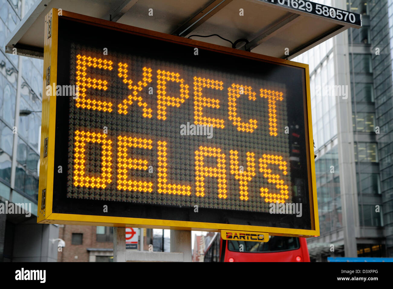 Electronic matrix sign advising of traffic delays, London, UK - Stock Image