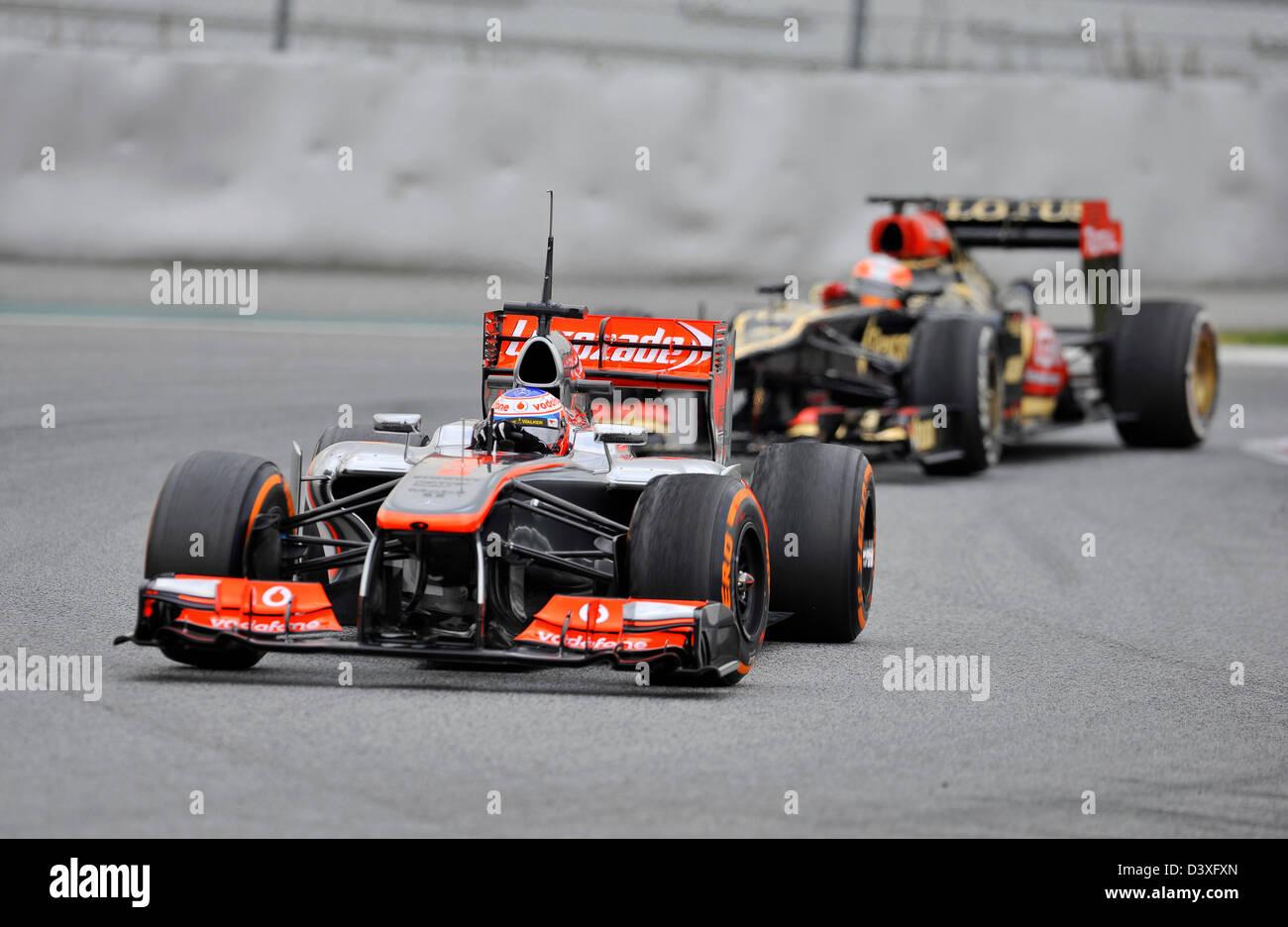 Jenson Button (GBR),McLaren Mercedes MP4-28 during Formula One tests on Circuit de Catalunya racetrack near Barcelona, - Stock Image