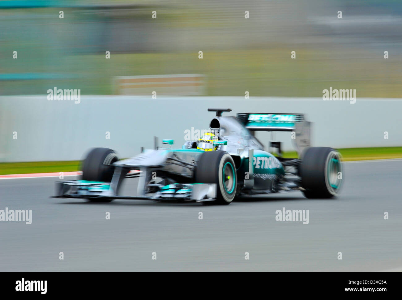 Nico Rosberg (GER), Mercedes F1 W04 during Formula One tests on Circuit de Catalunya racetrack near Barcelona, Spain - Stock Image