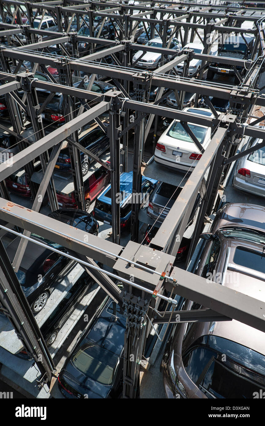 Vertical Parking lot in New York City - Stock Image