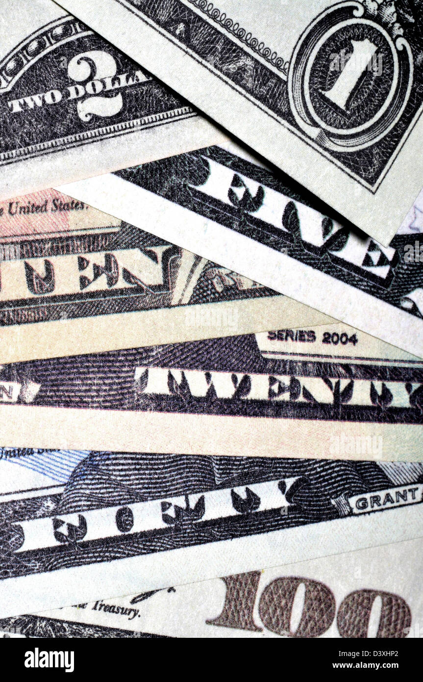 Complete set of US dollar bills, from $1 to $100 - Stock Image