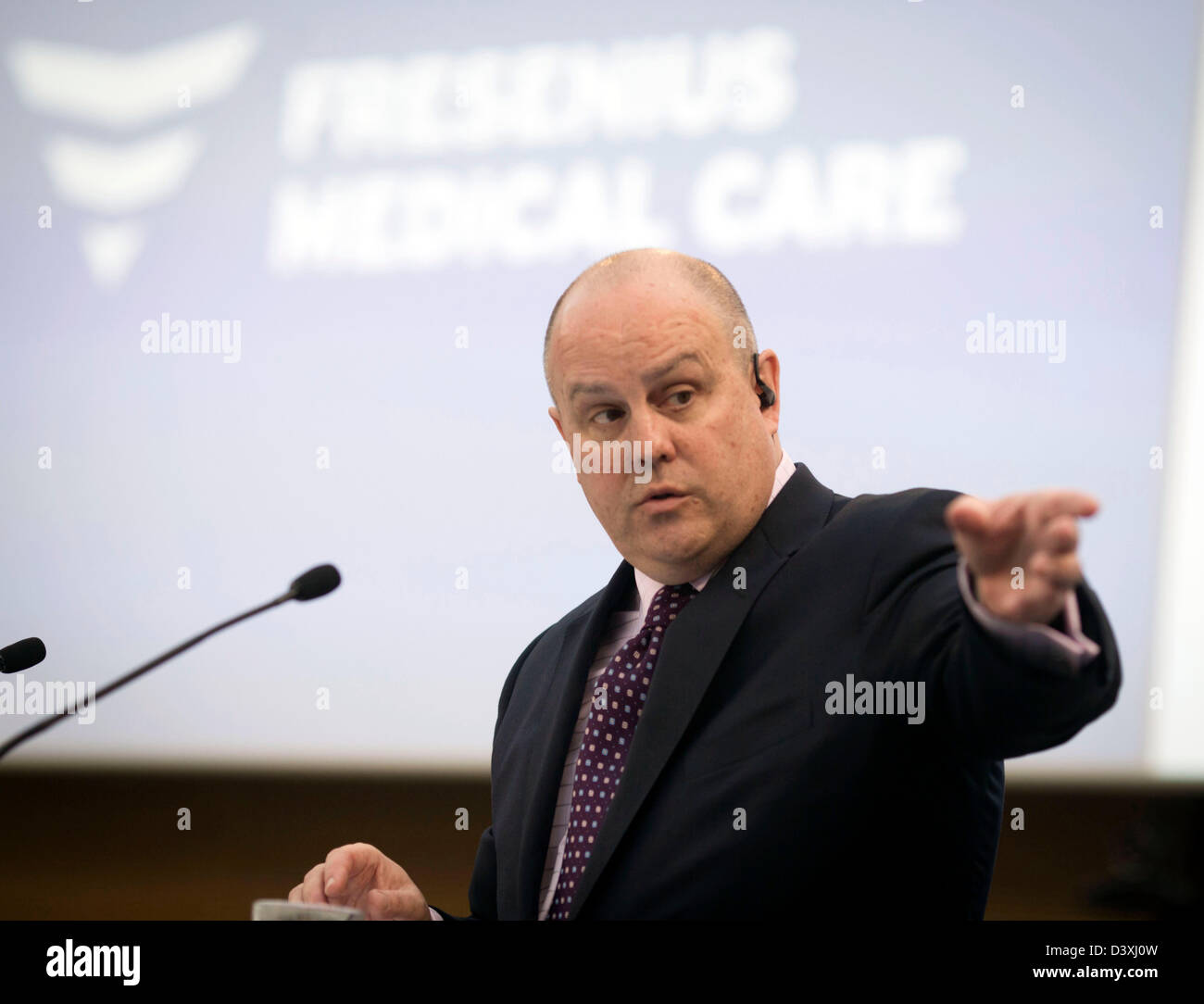 Rice Powell, chairman of Fresenius Medical Care (FMC), speaks at the annual press conference at the company's - Stock Image