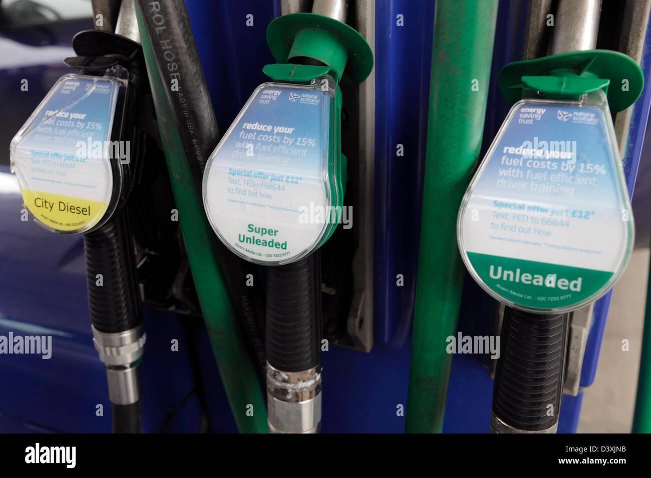Fuel pump nozzles, UK Stock Photo