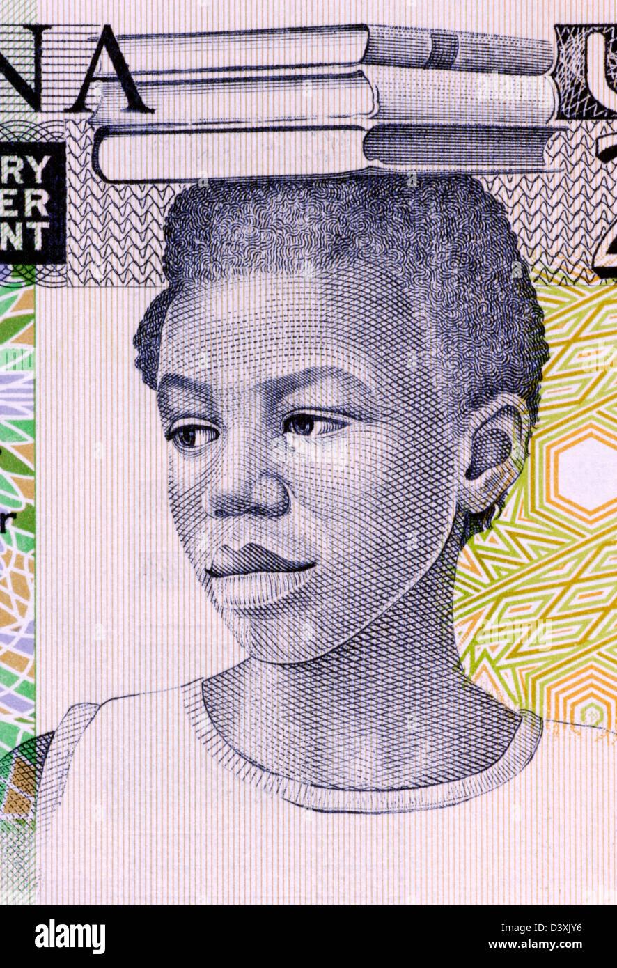 School Girl on 2 Cedis 1979 Banknote from Ghana - Stock Image