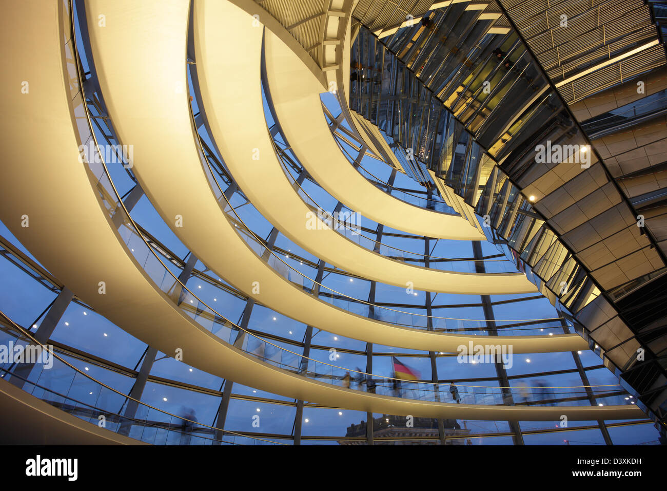 Berlin, Germany, visitors in the evening in the Reichstag dome Stock Photo