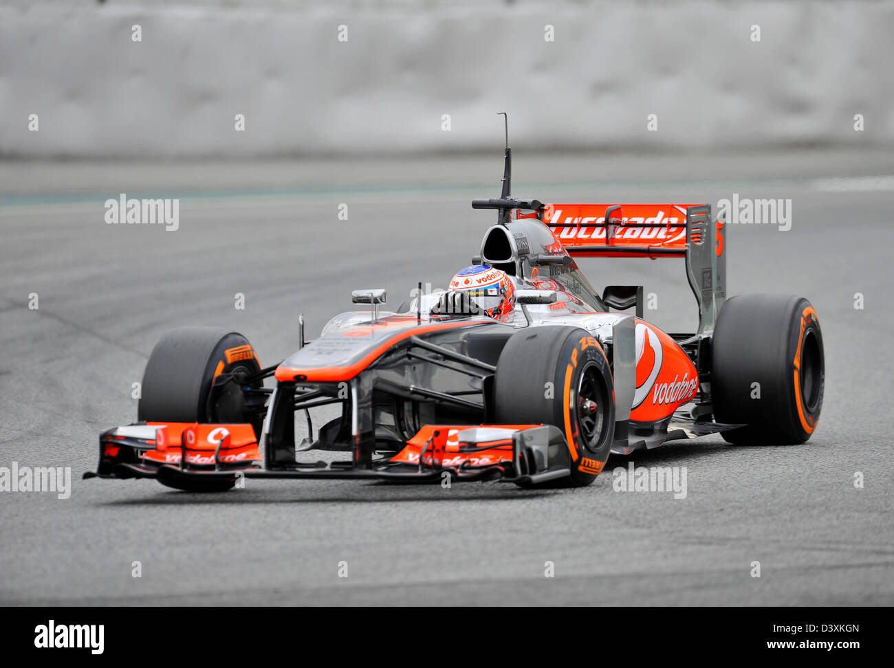 Jenson Button (GBR),McLaren Mercedes MP4-28 during Formula One tests on Circuit de Catalunya racetrack near Barcelona, - Stock Image