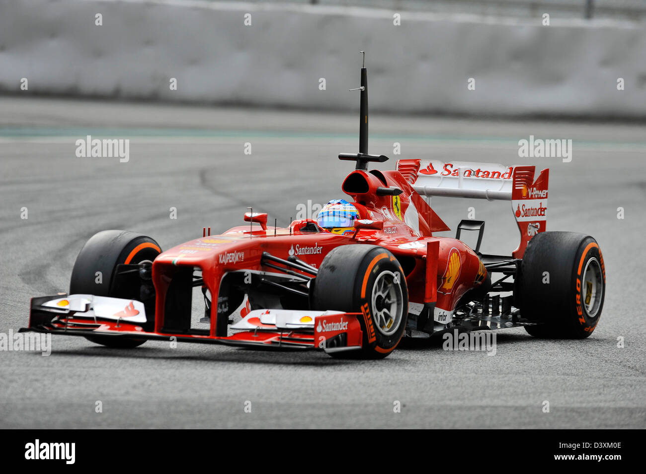 Fernando Alonso (ESP), Ferrari F138 during Formula One tests on Circuit de Catalunya racetrack near Barcelona, Spain - Stock Image