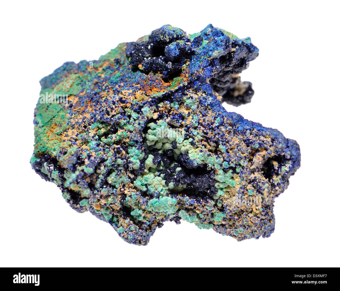 Malachite and Azurite crystals on matrix (from Zacatecas, Mexico) Both forms of copper carbonate hydroxide, often - Stock Image