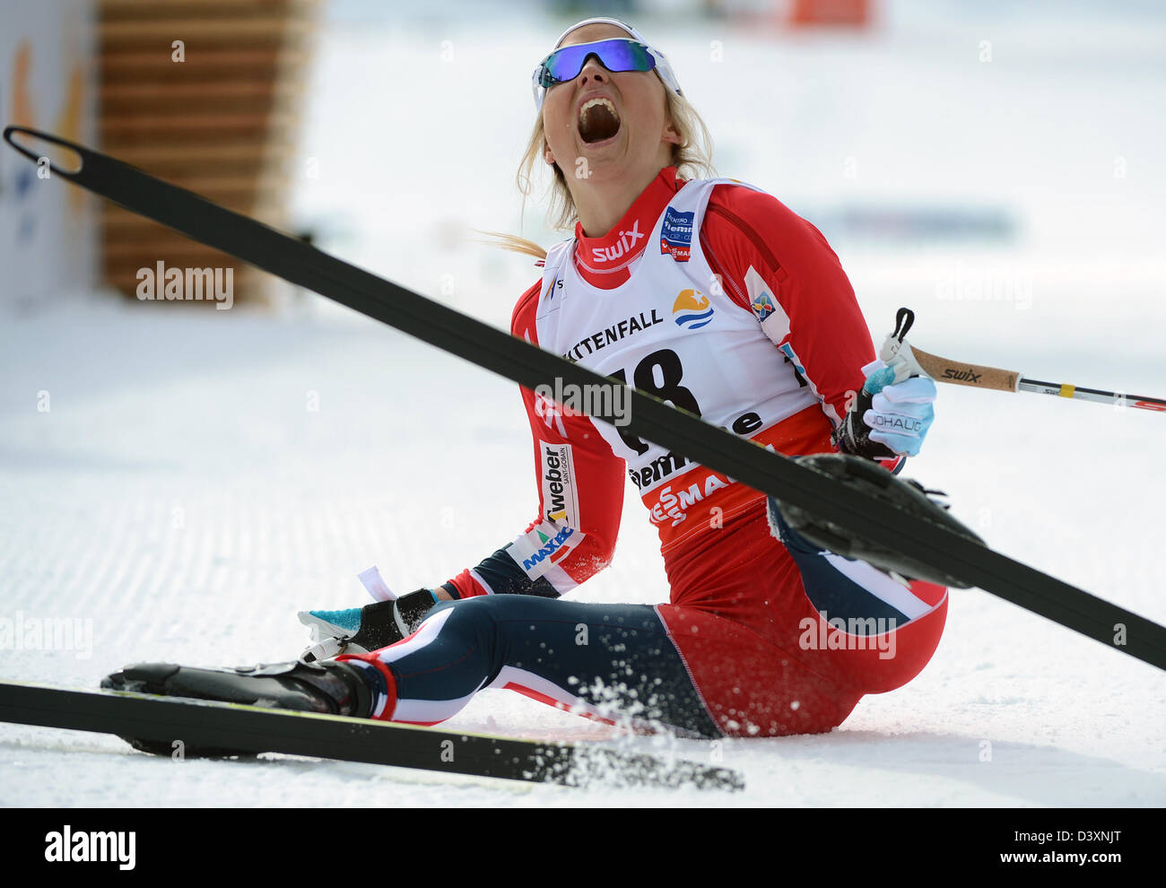 Norway S Therese Johaug Celebrates In The Finish Area After Winning Stock Photo Alamy