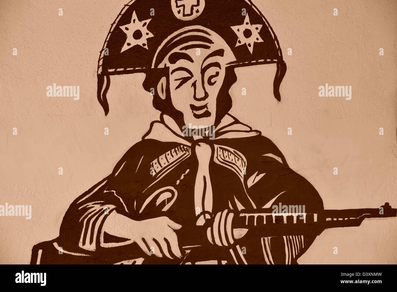 Wandgemälde des berühmten Banditen Lampiáo - Held des brasilianischen Nordostens - Stock Image