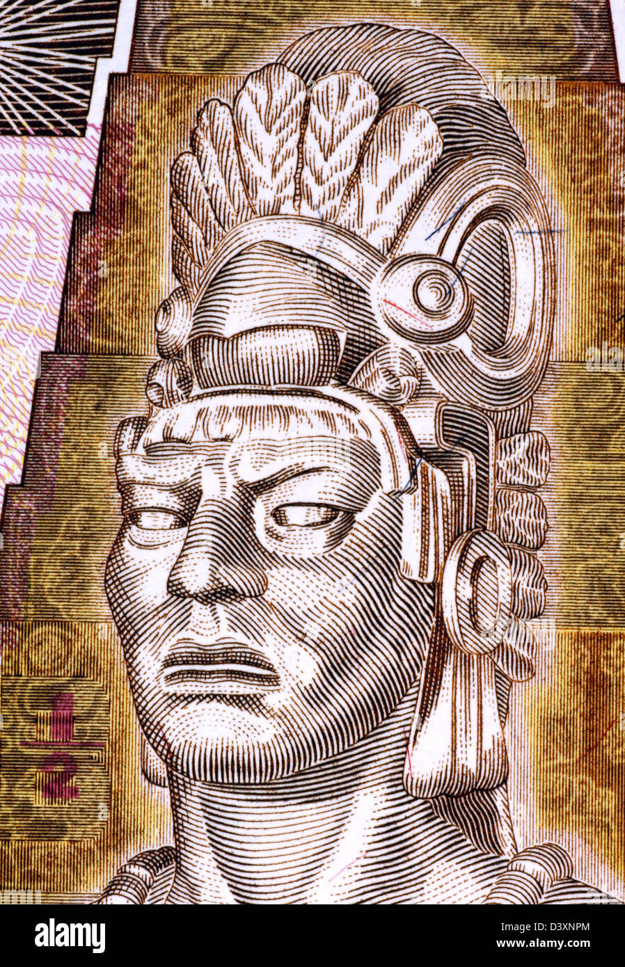 Tecun Uman (1500-1524) on Half Quetzal 1998 Banknote from Guatemala. Last ruler and king of the K'iche' - Stock Image