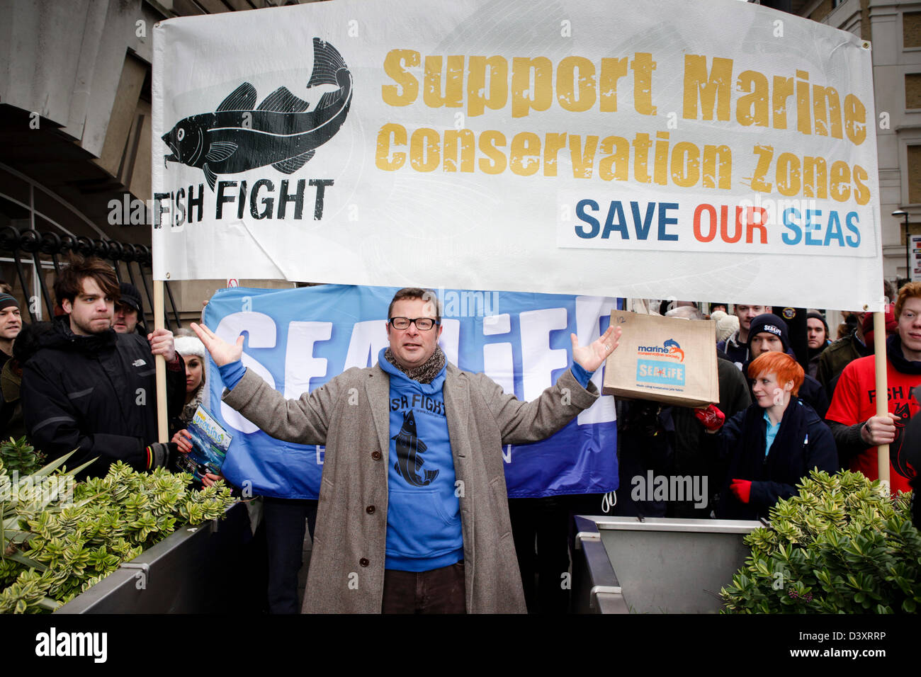 Hugh Fearnley-Whittingstall during the Marine Conservation Society march to highlight the need for Marine Conservation - Stock Image