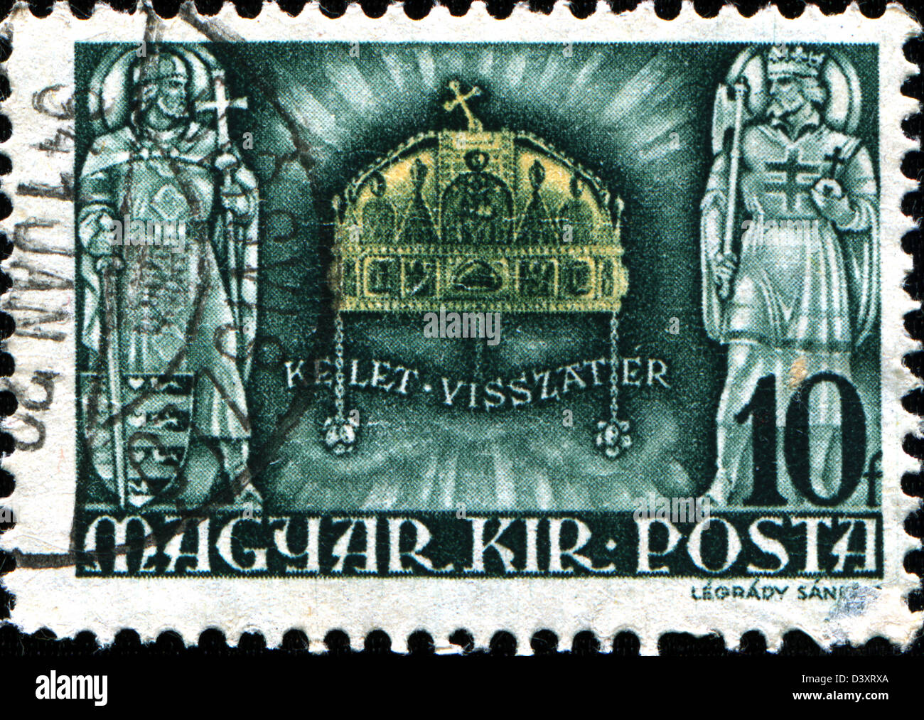 HUNGARY - CIRCA 1940: A stamp printed in Hungary shows Crown of St. Stephen, National Symbol, circa 1940  Stock Photo