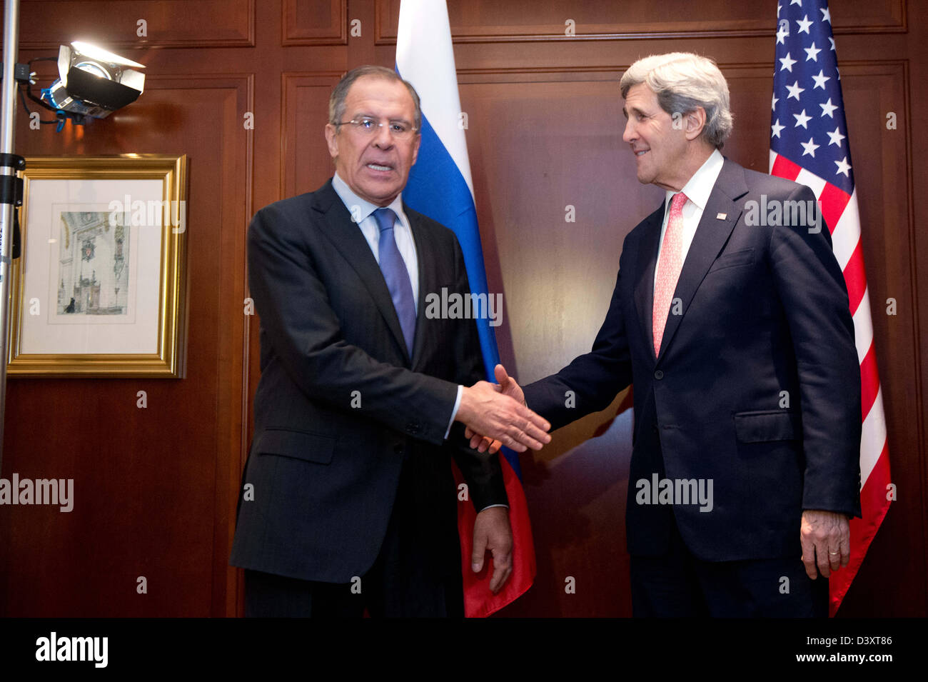 Berlin, Germany. 26 February 2013. American Secretary of State JohnKerry (R) meets with his Russian counterpart - Stock Image