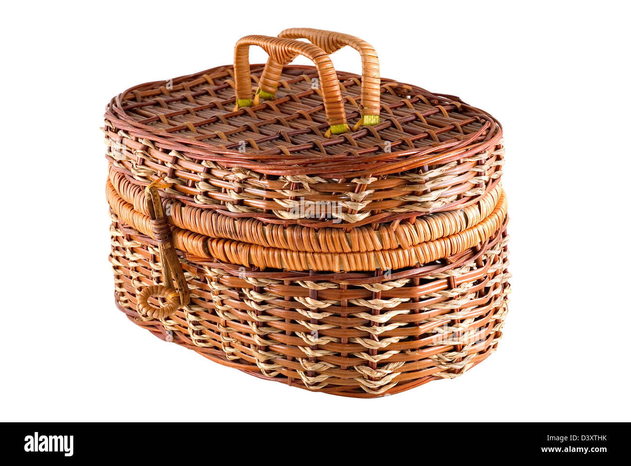 Bast-basket is photographed on a white background - Stock Image