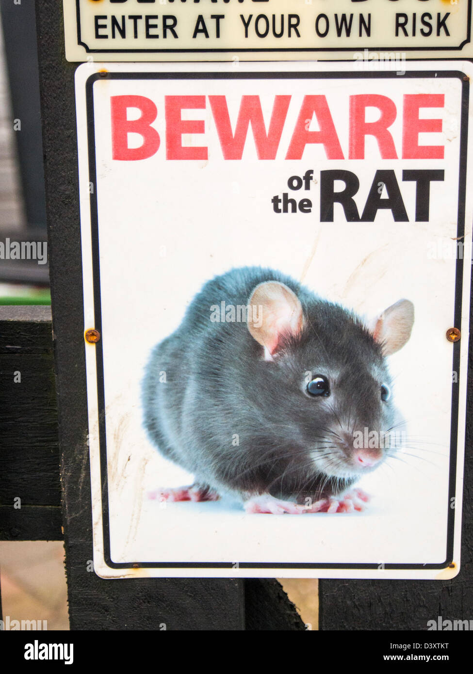 A beware of the rat sign on a house gate. - Stock Image