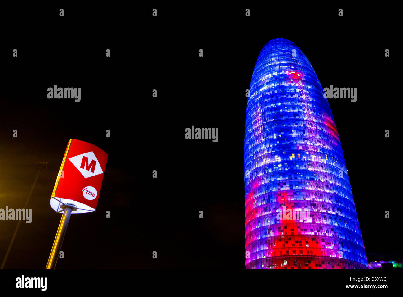 Metro logo next to the Agbar Tower in Barcelona, Spain, Europe - Stock Image