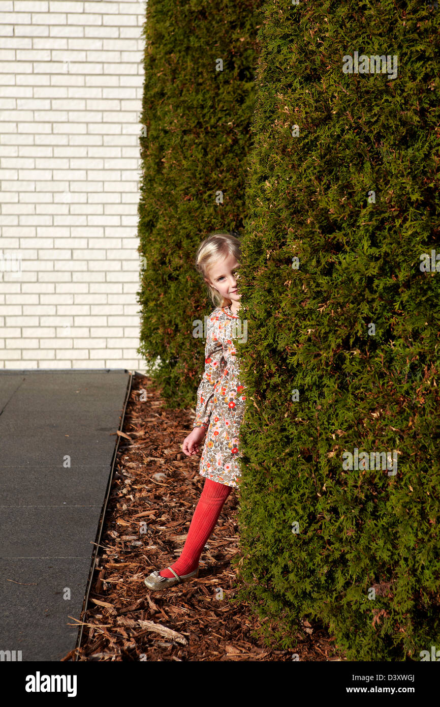 4 year old girl playing hide and seek - Stock Image