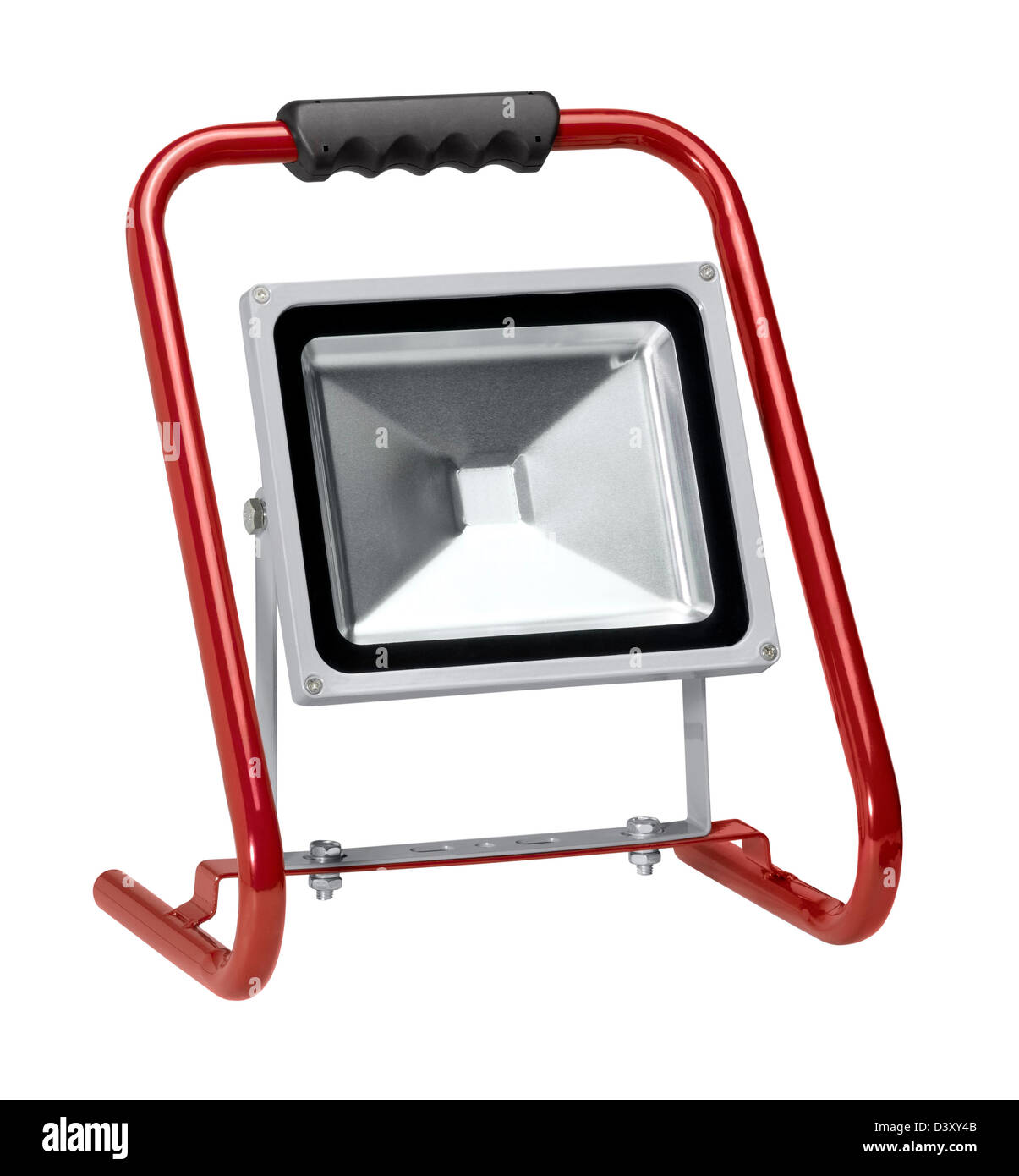a portable floodlight in white back - Stock Image