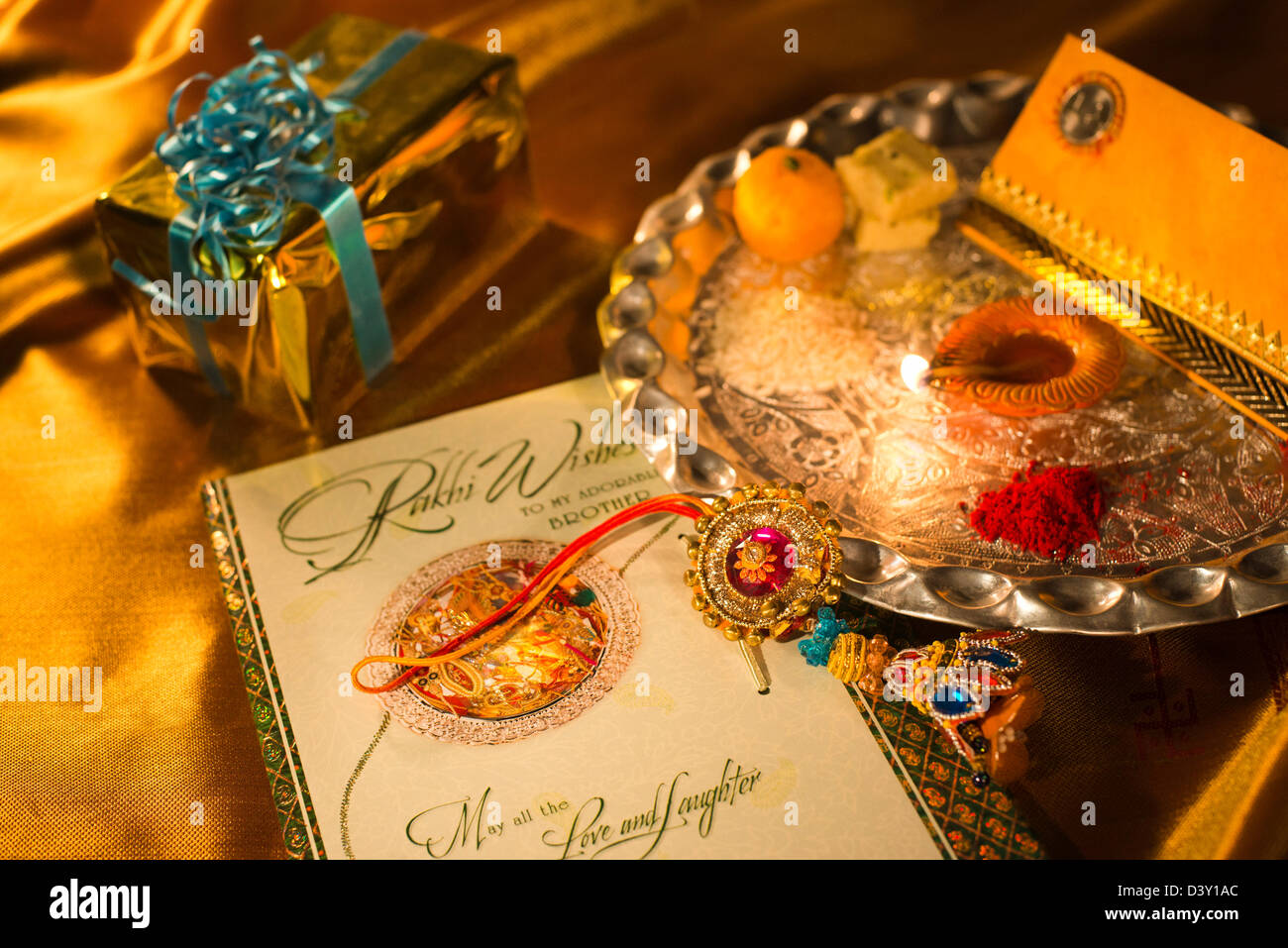 Puja Thali And Greeting Card At Raksha Bandhan Stock Photo 54068852