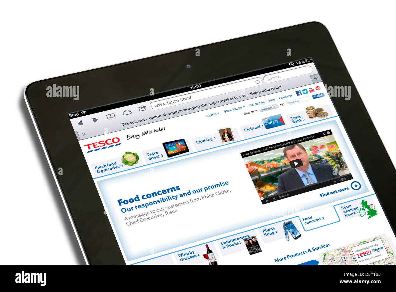 The Tesco website with a video message from Chief Executive Philip Clarke about the horsemeat scandal in February - Stock Image