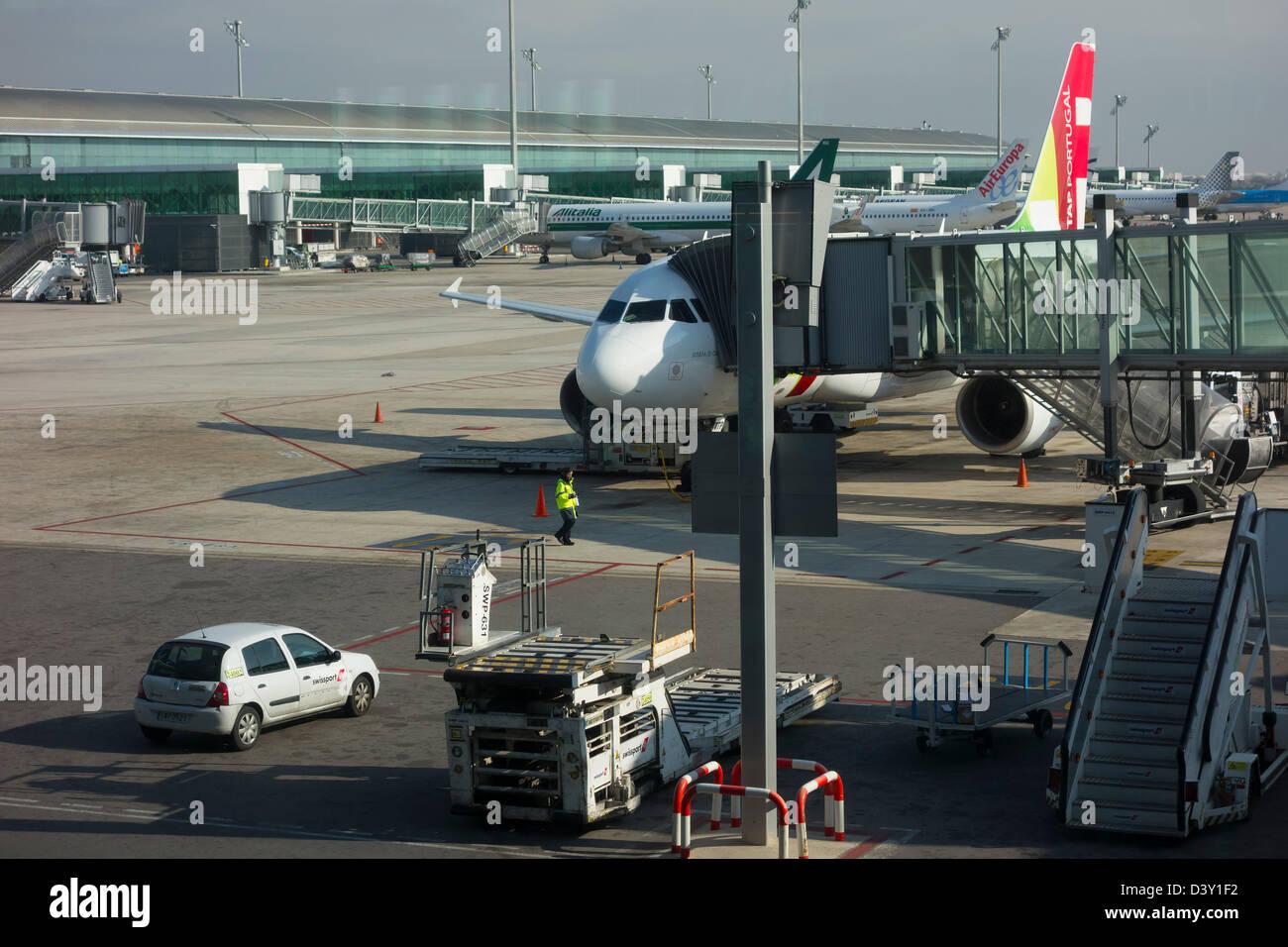 TAP airplane at the Barcelona El Prat Airport runway in Barcelona, Spain, Europe - Stock Image