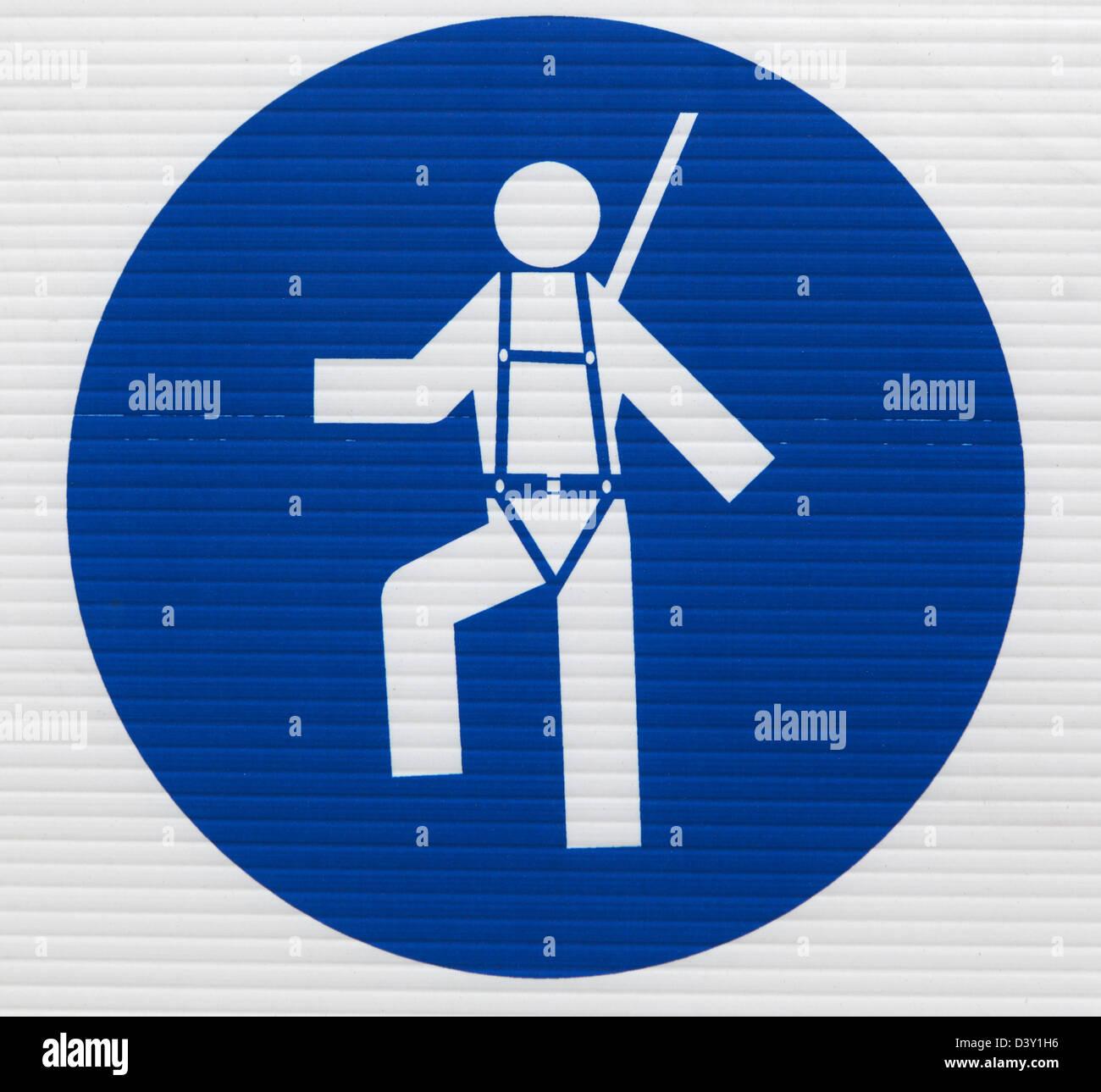 Santa Margherita di Pula, Italy, mandatory label, safety rope wear - Stock Image