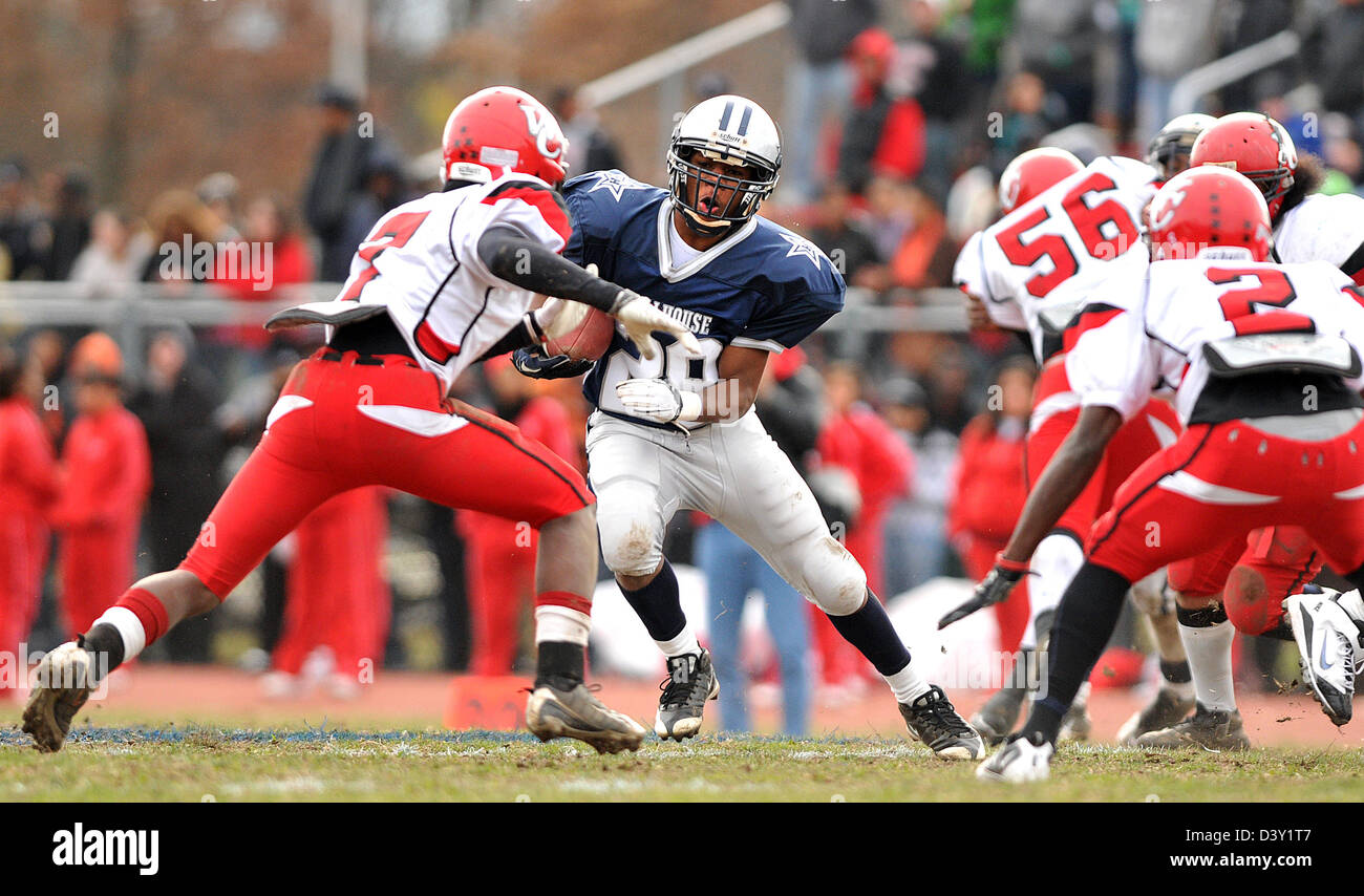 High school football game in New Haven CT USA between cross town rivals Wilbur Cross and Hillhouse High Schools - Stock Image