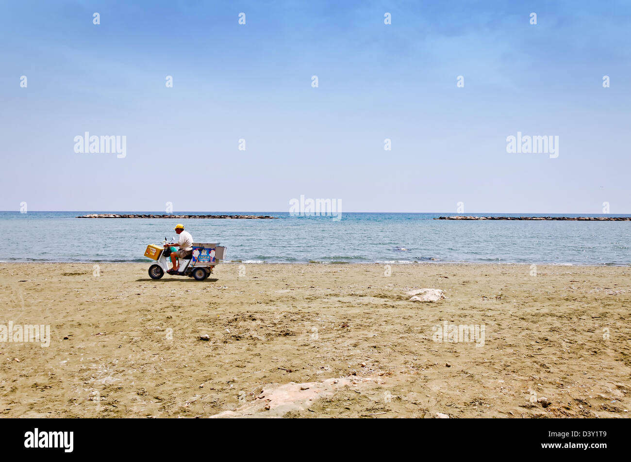 ice cream vendor on empty beach close to Larnaca, Cyprus - Stock Image