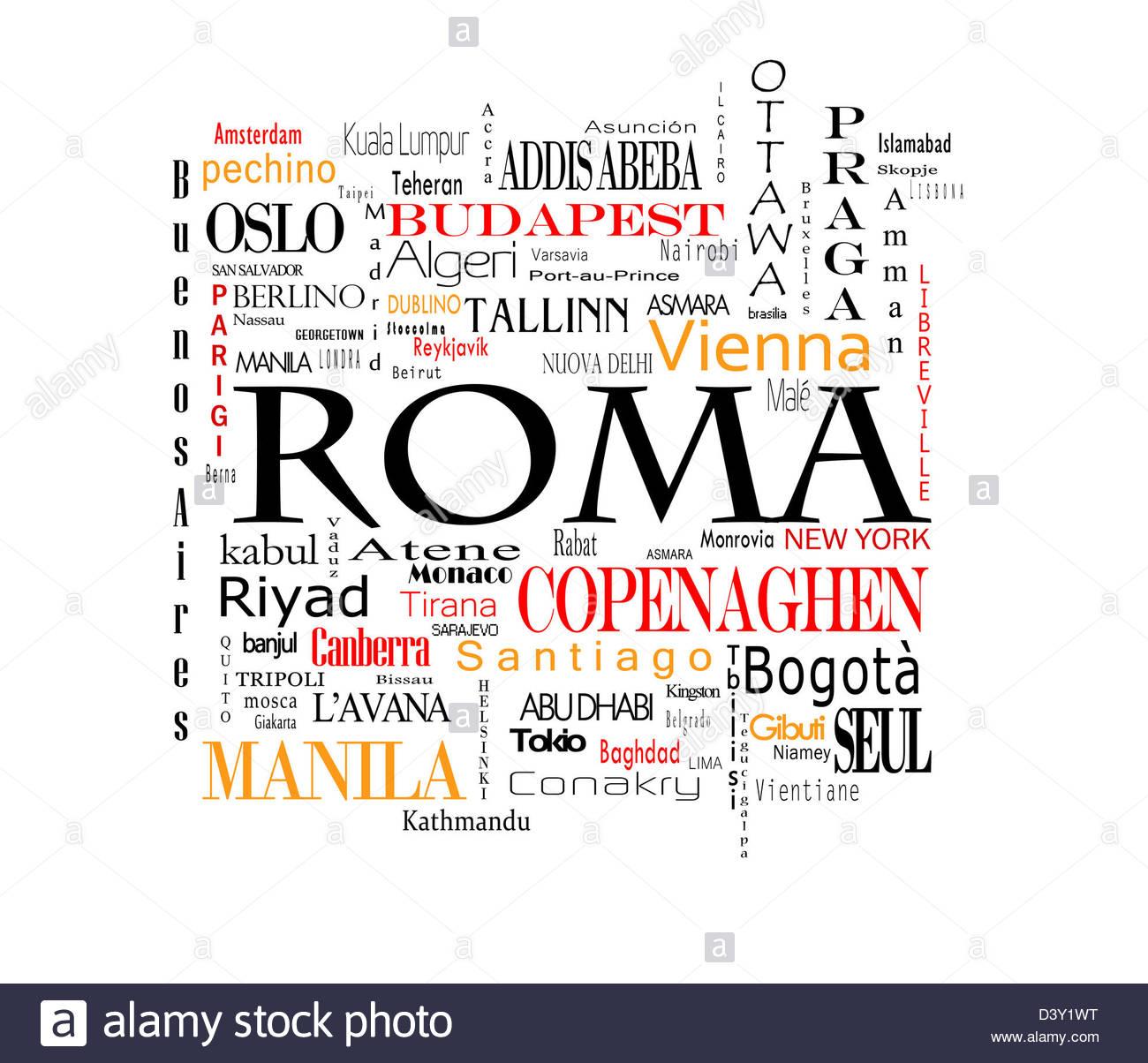 Composizione di parole delle maggiori capitali mondiali - Stock Image