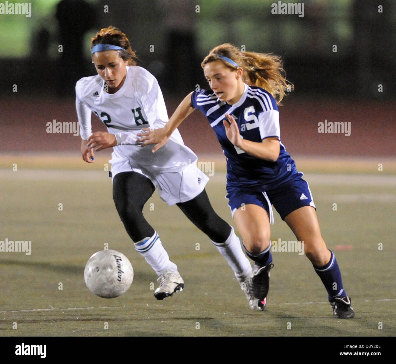 Girls high school soccer action in CT USA - Stock Image