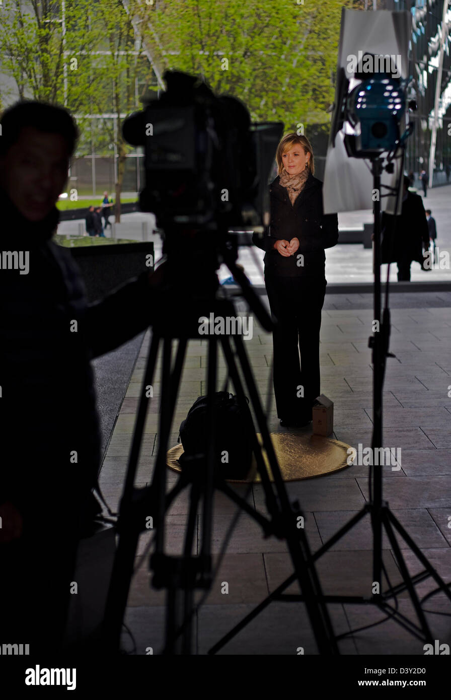 BBC Newsnight reporter on location London - Stock Image