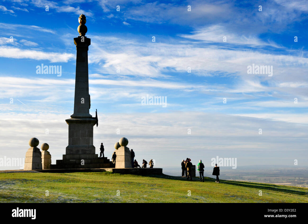Bucks Chiltern Hills -monument on Coombe Hill - viewpoint over Aylesbury Plain -  visitors taking in the view - - Stock Image