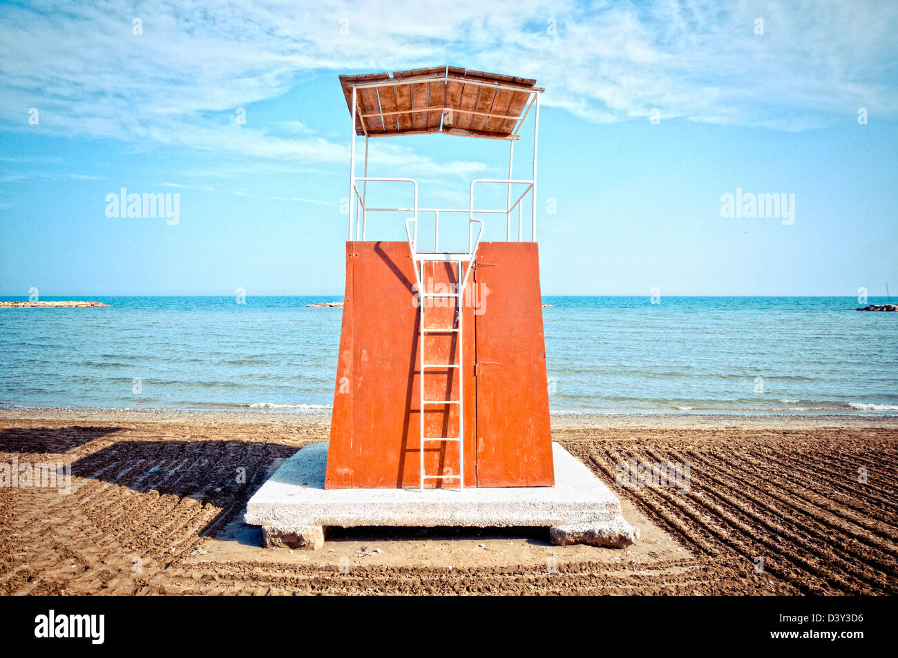 Baywatch tower in Larnaca, Cyprus - Stock Image