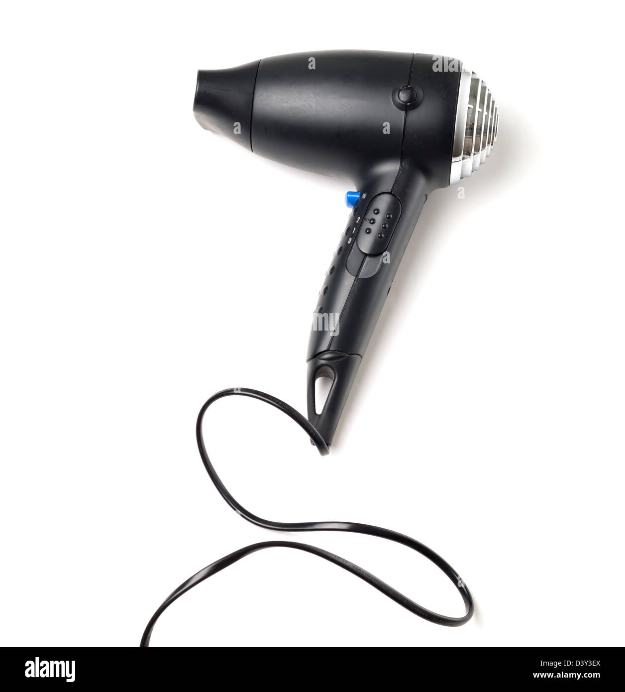 Black hair dryer isolated on white background - Stock Image