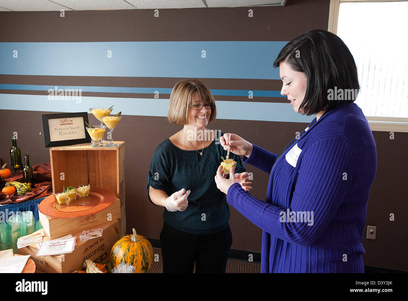 Business expo with women showing their products in CT USA - Stock Image