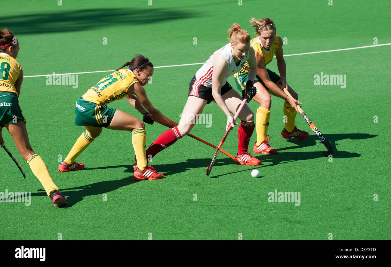 South Africa v England Ladies hockey at Hartleyvale Stadium Cape Town. England's Nic White in possession with - Stock Image