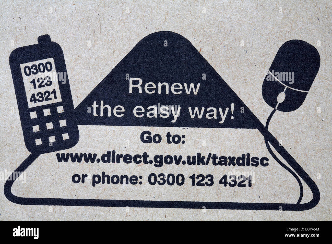 renew the easy way - internet or phone stamped on envelope for tax renewal reminder from Driver and Vehicle Licensing - Stock Image